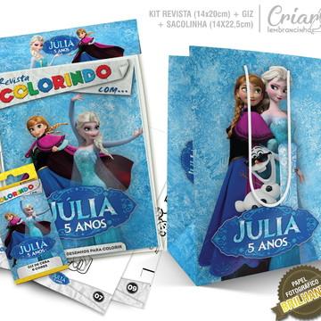 Sacolinha + Kit de colorir PERSONALIZADO - Frozen