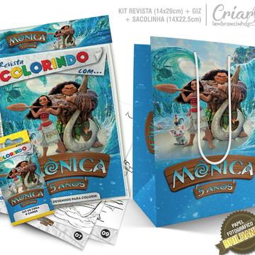 Sacolinha + Kit de colorir PERSONALIZADO - Moana