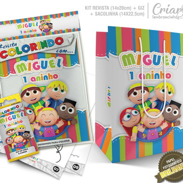Sacolinha + Kit de colorir PERSONALIZADO - Os Pequerruchos