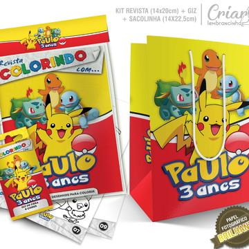 Sacolinha + Kit de colorir PERSONALIZADO - Pokémon