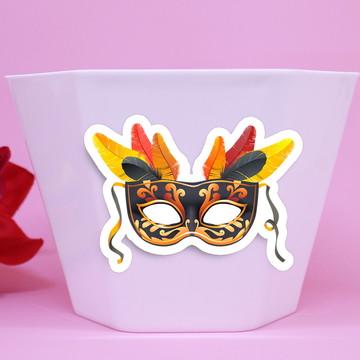 Vasinho/cachepô com aplique – máscara carnaval