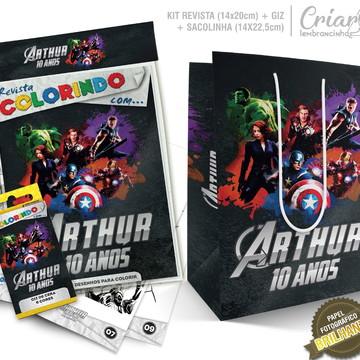 Sacolinha + Kit de colorir PERSONALIZADO - Os Vingadores