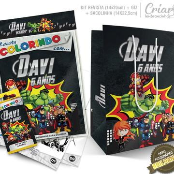 Sacolinha + Kit de colorir PERSONALIZADO Os Vingadores Kids