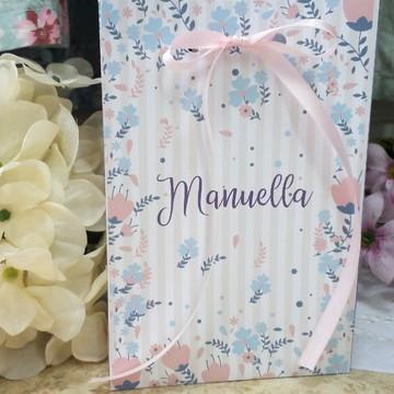 Embalagem personalizada para lembrancinhas tema floral