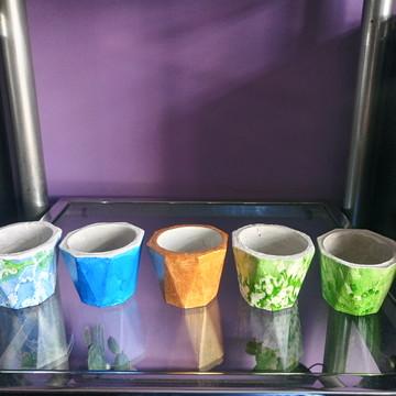 KIT com 3 Mini vasinhos de cimento