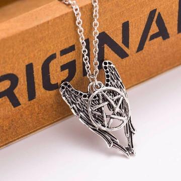 Colar pentagrama wicca Supernatural Castiel vintage prateado