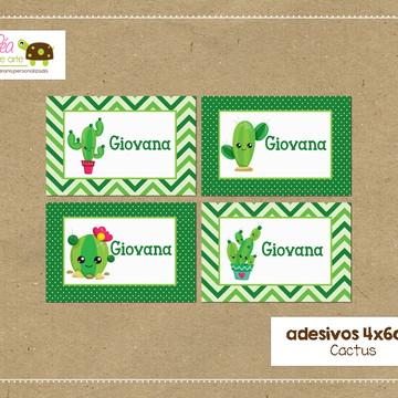 Adesivos material escolar - Cactus