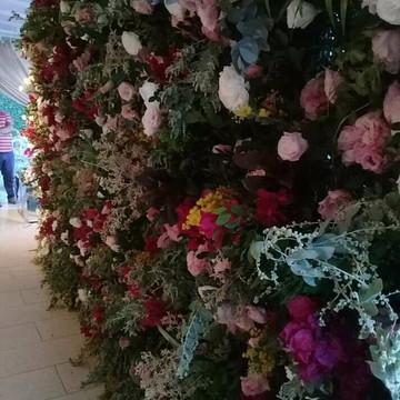 Backdrop em flores naturais