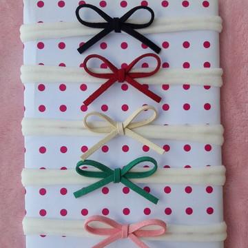 Kit de 5 laços na faixa de cabelo para bebe recem nascido