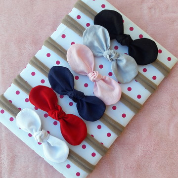 Kit de 5 laços para cabelo na faixa de bebe recem nascido