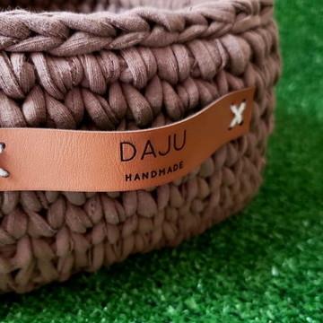Alça personalizada de couro para cestos de crochê (par)