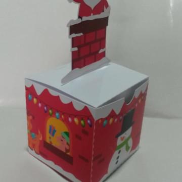 Caixa cubo casinha - tema Natal - arquivo de corte