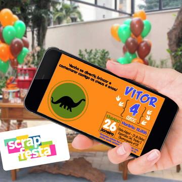 Convite Arte Digital Personalizado Festa Dinossauro