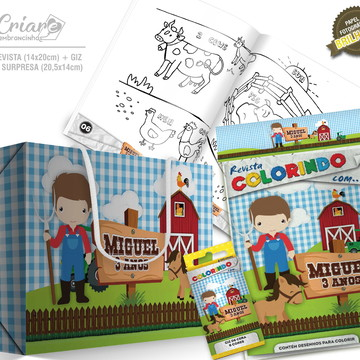Caixa Surpresa + Kit de colorir - Fazendinha