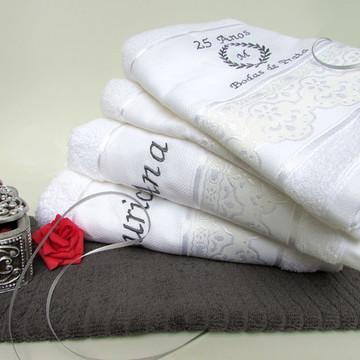 Kit 5 peças - toalhas brancas bordadas Bodas de Prata