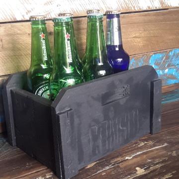 Caixa artesanal rústica para garrafas