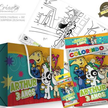 Caixa Surpresa + Kit de colorir - Turma do Doki
