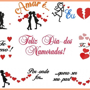 Matriz Bordados Dia Namorados Kit c/ 9 Matrizes Agulha Feliz