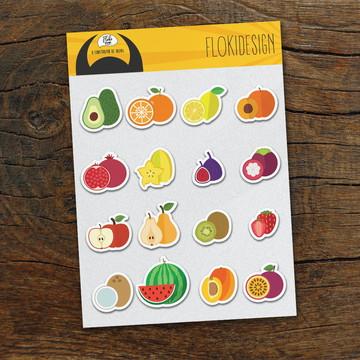 Cartela Adesiva Planner Caderno Agenda Scrapbook Frutas