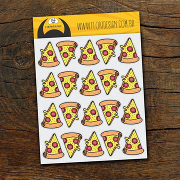 Cartela Adesiva Planner Caderno Agenda Scrapbook Pizza