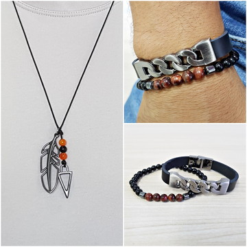 Kit pulseiras masculinas couro fecho magnetico e colar tribo