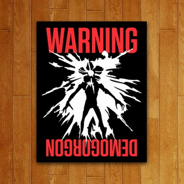 Placa Decorativa - Warning Demogorgon