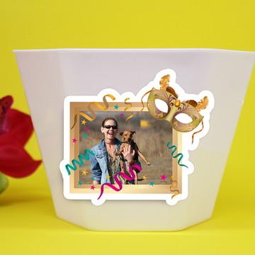 Vasinho/cachepô com aplique com foto – máscara carnaval