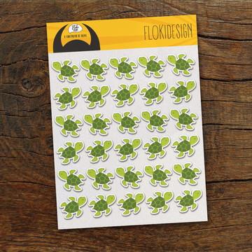 Cartela Adesiva Planner Caderno Agenda Scrapbook Tartarugas
