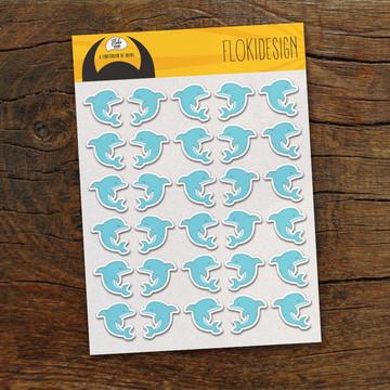 Cartela Adesiva Planner Caderno Agenda Scrapbook Golfinhos
