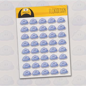 Cartela Adesiva Planner Caderno Agenda Scrapbook Nuvem