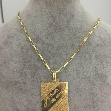 Cordão Prata Banhado a Ouro + Pingente