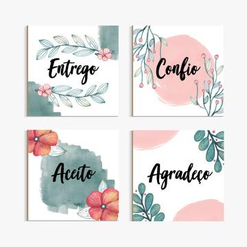 Placas Decorativas - ENTREGO, CONFIO, ACEITO, AGRADEÇO