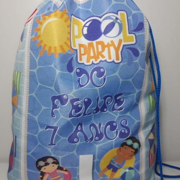 Mochilinha sacolinha sacochila Pool Party festa na piscina