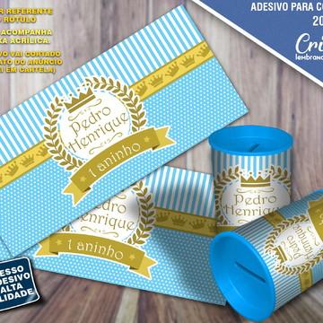 Adesivo para cofrinho - Coroa Azul