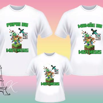 Kit 3 Camisetas Personalizadas Minecraft
