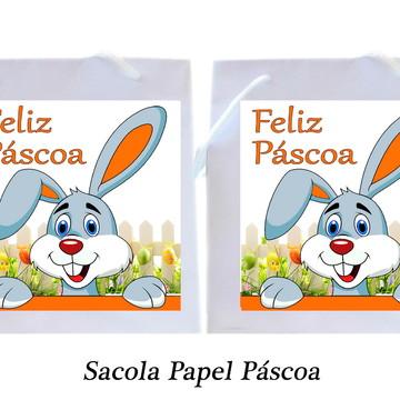 Sacola Personalizada - Feliz Páscoa, Sacola Papel Páscoa