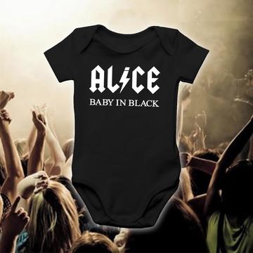 Body ALICE BABY IN BLACK Bandas de Rock 100% Algodão