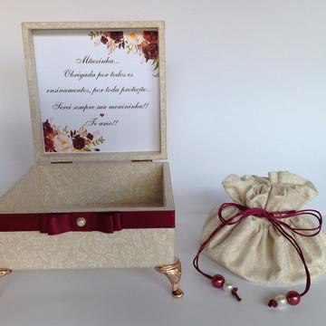 Caixa Presente Mãe da Noiva Marsala Pronta entrega