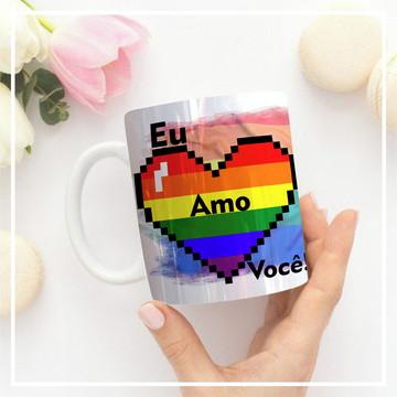 Caneca Temática - Eu amo você (LGBT) - Com foto.