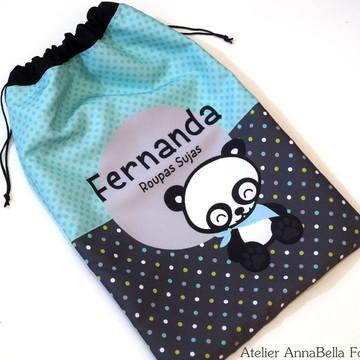 Saquinho Impermeável Roupa Suja Panda (30x40)