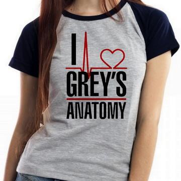blusa feminina baby look I love Greys Anatomy serie