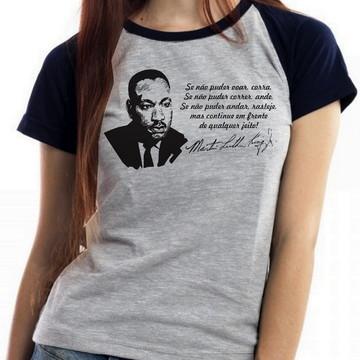 blusa feminina baby look Martin Luther King frase ativista