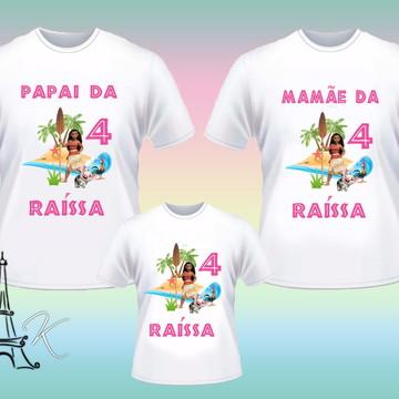 Kit 3 Camisetas Personalizadas Moana