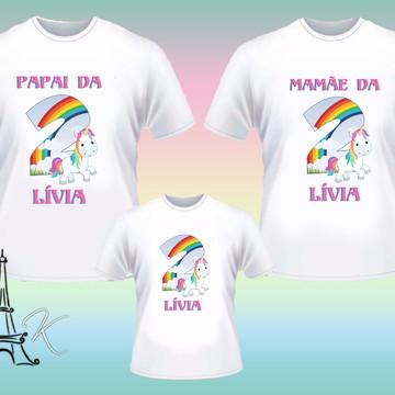 Kit 3 Camisetas Personalizadas Unicórnio