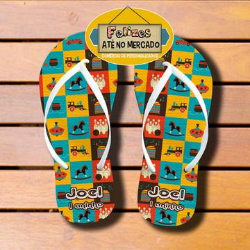 Sandália Personalizada Tema Brinquedos! Lembrancinha Niver