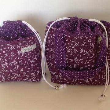 Kit bolsa térmica e mini bolsa térmica-roxo flowers