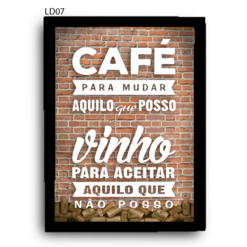 QR08 24x34cm Quadro Rolha CAFÉ E VINHO