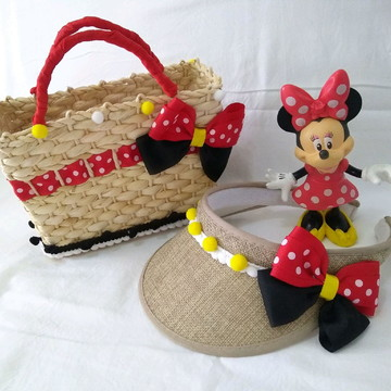 ae1a618b6b838 Kit praia infantil Minie - bolsa palha + viseira