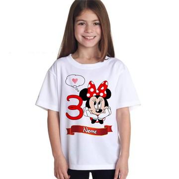 Camiseta Minnie Infantil Personalizada Aniversario