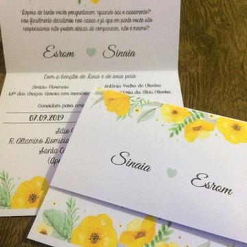 Convite de casamento Amarelo barato